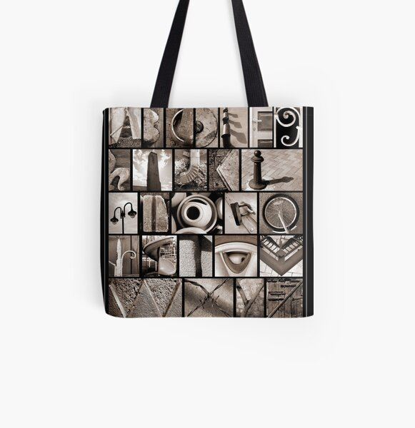 Alphabet Monochrome Print All Over Print Tote Bag