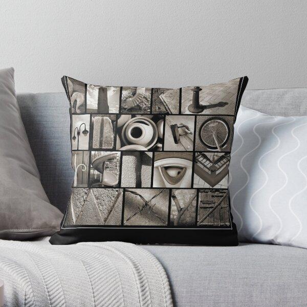 Alphabet Monochrome Poster Throw Pillow