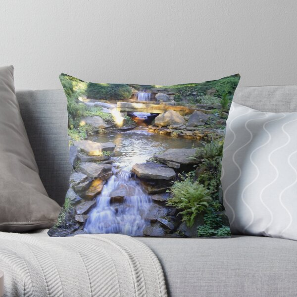Tranquil Waterfalls Throw Pillow