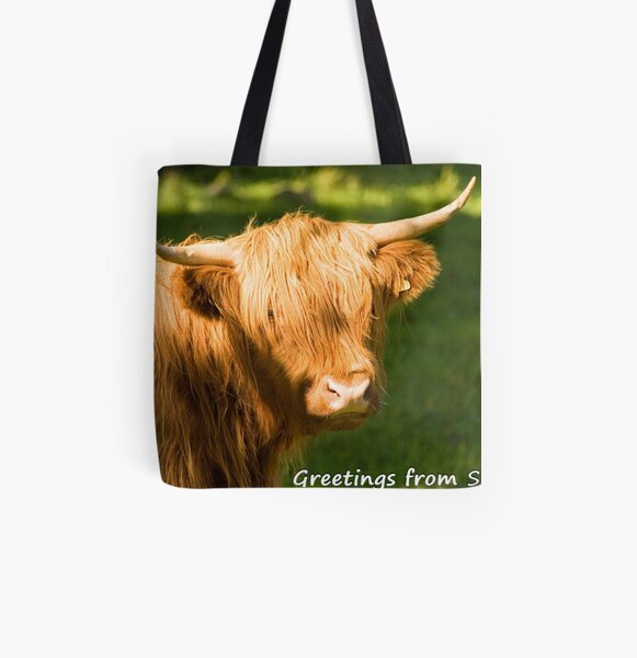 Highland Cow Postcard All Over Print Tote Bag