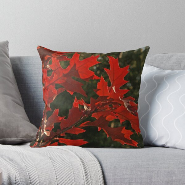 Oak Leaves in Autumn Flame Throw Pillow