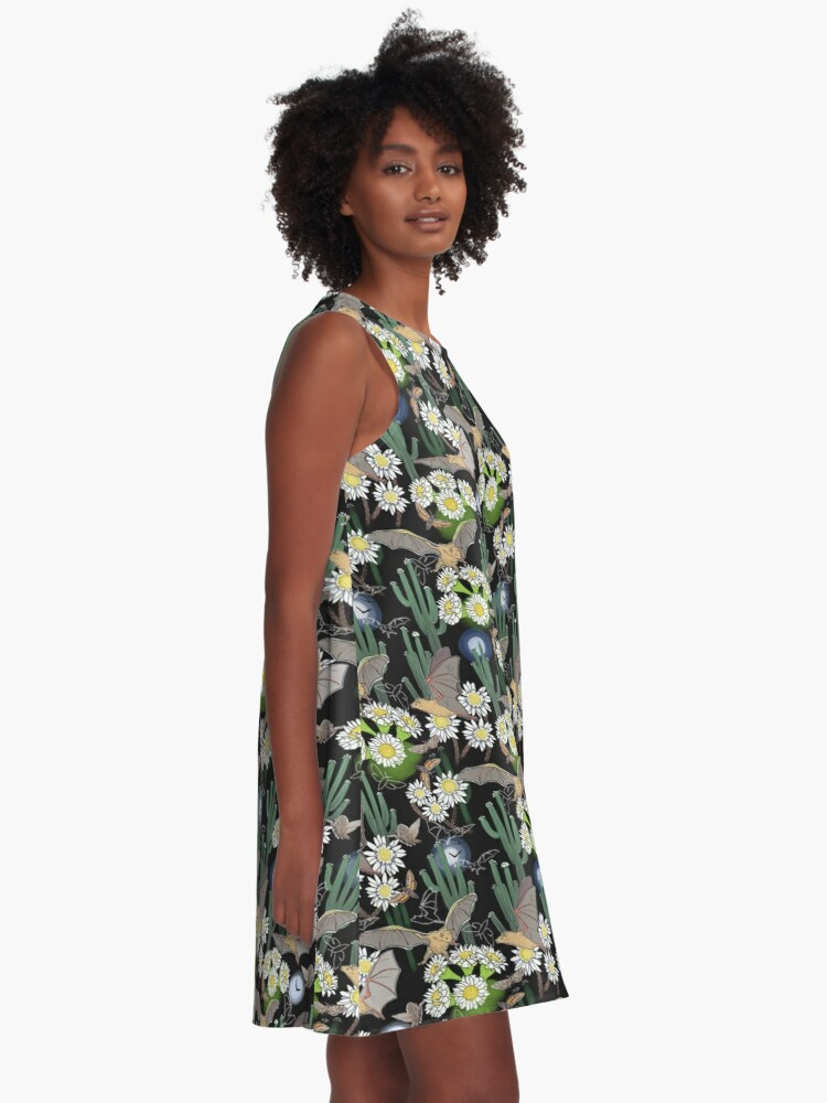 Alternate view of Bats, Moths and Cactus Flowers in Desert Moonlight A-Line Dress