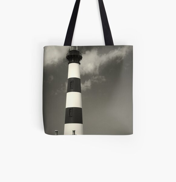 Bodie Island Lighthouse (Mono) All Over Print Tote Bag