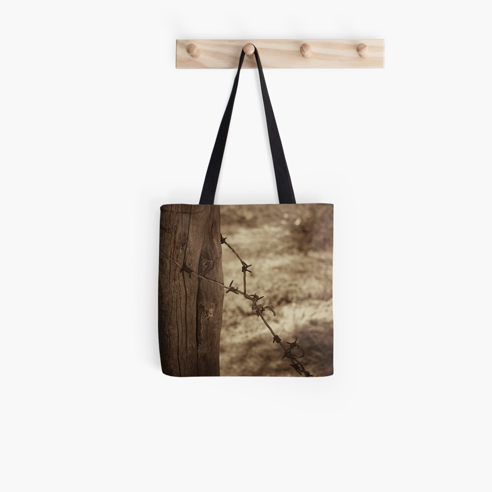 Old barbed wire - sepia Tote Bag