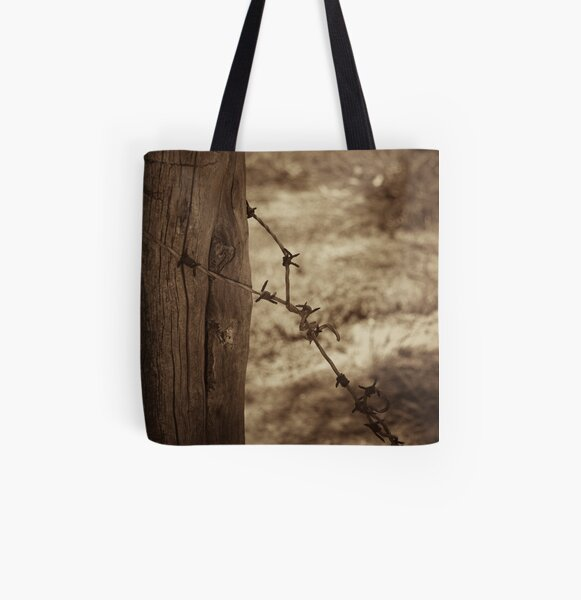 Old barbed wire - sepia All Over Print Tote Bag