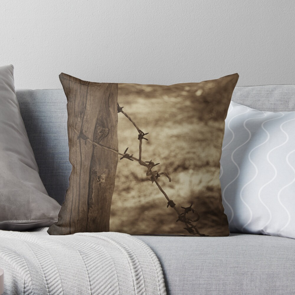 Old barbed wire - sepia Throw Pillow