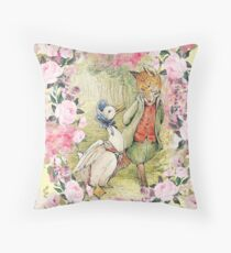 Jemima Puddle-Duck - Floral Throw Pillow