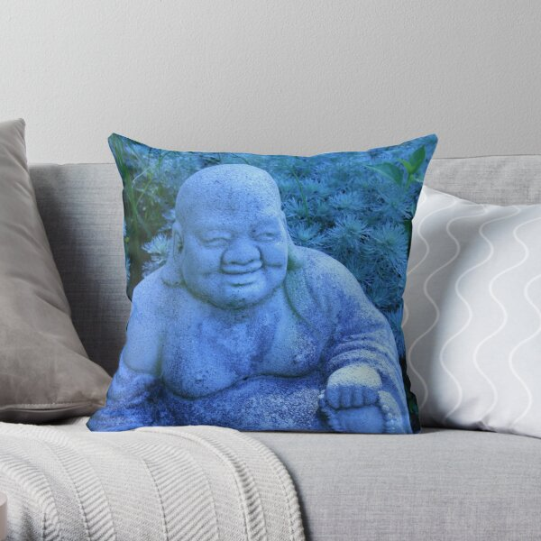 garden buddha in blue Throw Pillow