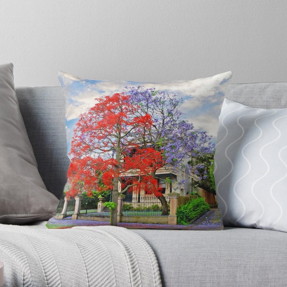 Illawarra Flame tree & Jacaranda Throw Pillow