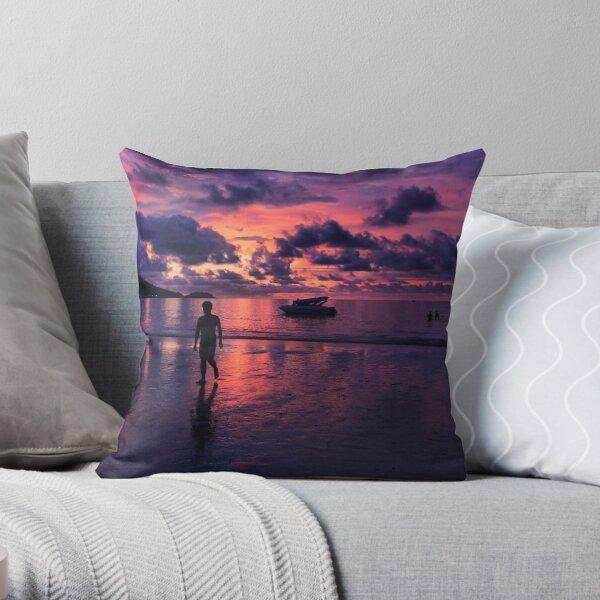 Patong beach sunset Throw Pillow