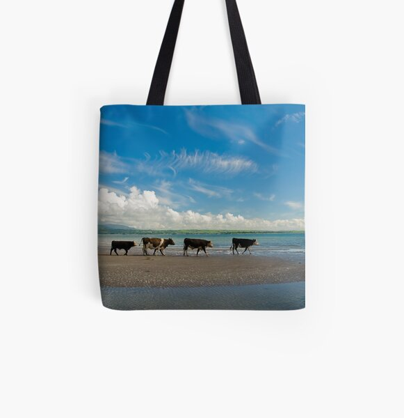 Cows strolling at the beach All Over Print Tote Bag