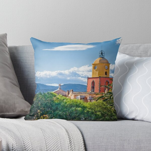 Le clocher de saint tropez Throw Pillow