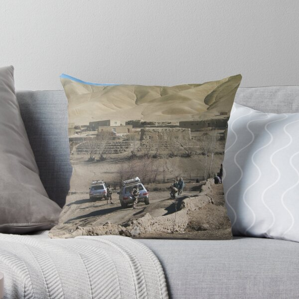 child and soldiers Throw Pillow
