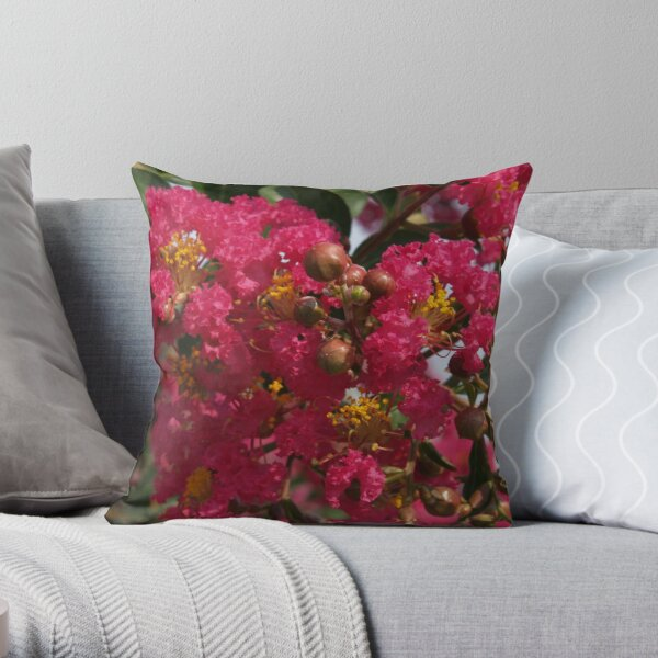 Crape Myrtle with Buds Throw Pillow