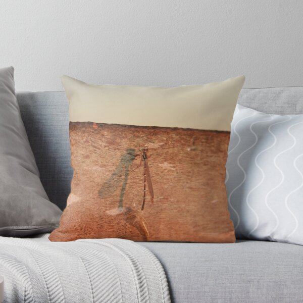 Dragonfly on the jetty Throw Pillow