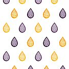 Purple and yellow raindrops by savousepate