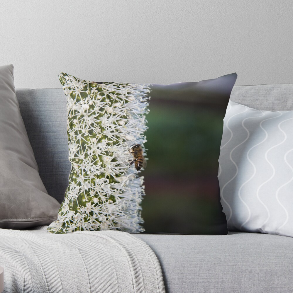 Grasstree flower with bees Throw Pillow