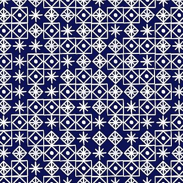 Geometric Lace – White on Navy by catcoq