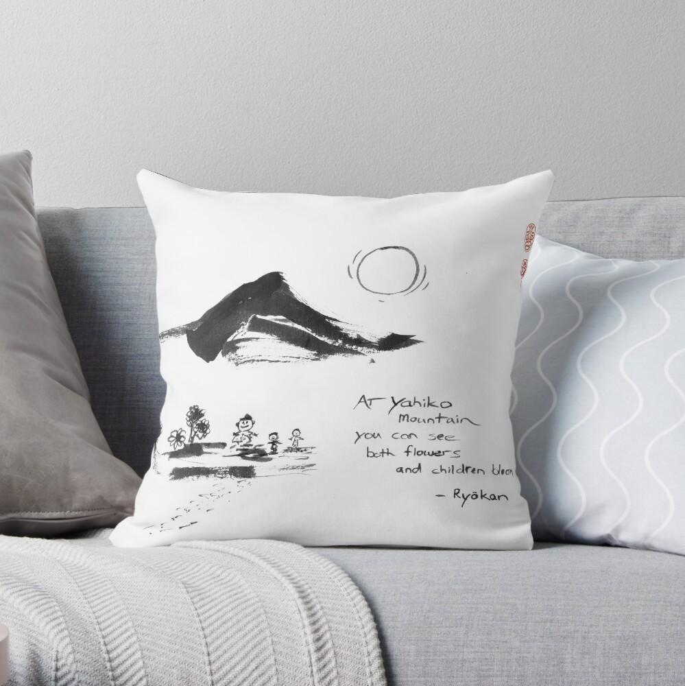 Yahiko Mountain Throw Pillow