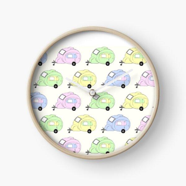 Pastel caravans - hand drawn digital art Clock