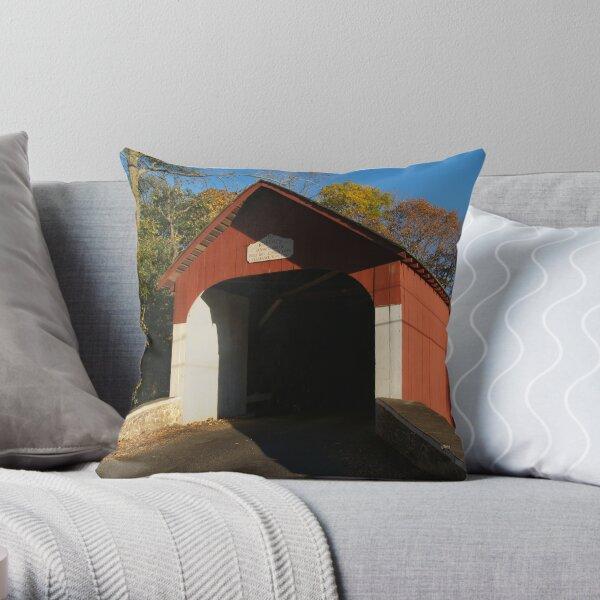 1873 Knecht's Bridge - Bucks County, PA Throw Pillow