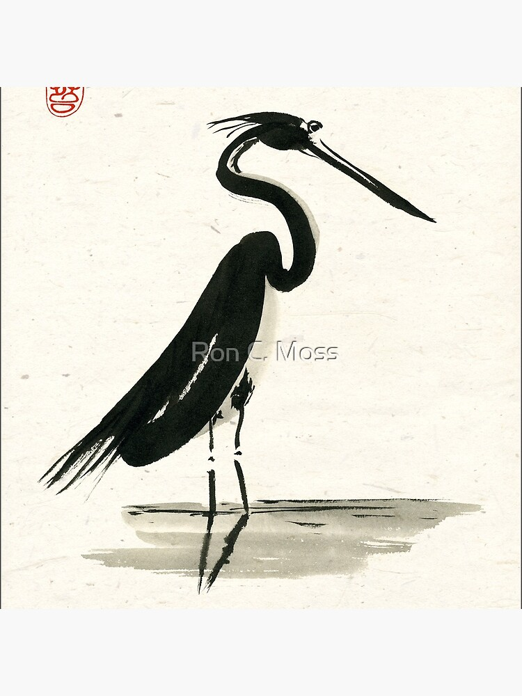 heron on rice paper by ronmoss