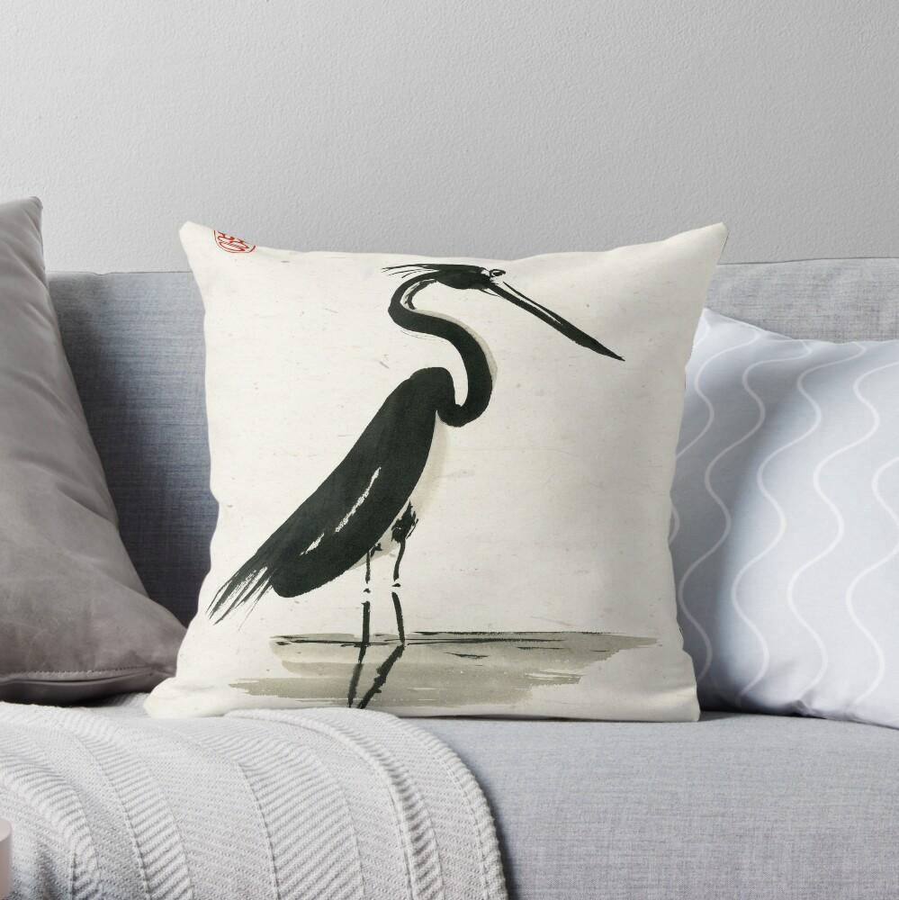 heron on rice paper Throw Pillow