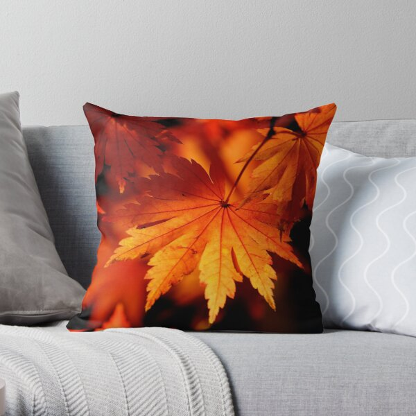 Leaves On Fire Throw Pillow