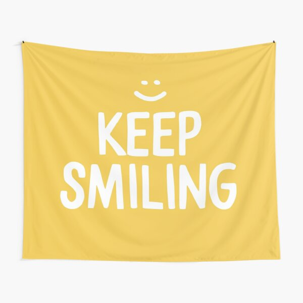 Keep Smiling - Yellow Happiness Quote Tapestry