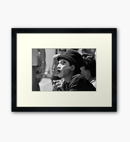 Fascinated Mime (B&W) Framed Print