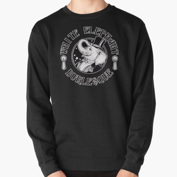 White Elephant Burlesque Logo (Thicker Stroke for Darker Backgrounds) Pullover Sweatshirt