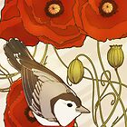 Grey Bird, Red Flowers by Carrie Alyson