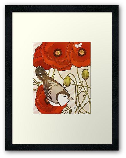 Grey Bird, Red Flowers by Kiri Moth