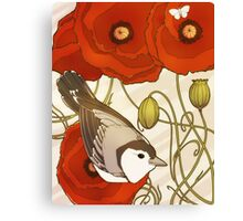 Grey Bird, Red Flowers Canvas Print