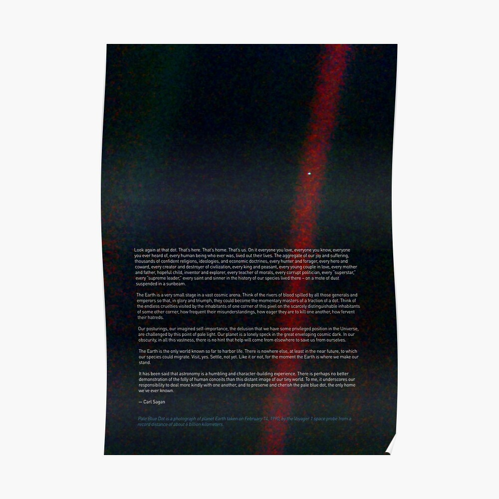 Pale Blue Dot - Voyager 1 + Carl Sagan quote ⛔ HQ-quality print, BESTSELLER Poster