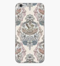 Woodland Birds - hand drawn vintage illustration pattern in neutral colors iPhone Case