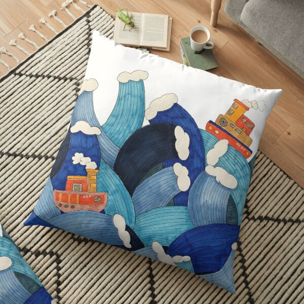 Illustration of boat in funny waves Floor Pillow