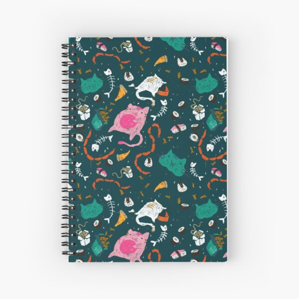 Chompy cats in Teal Spiral Notebook