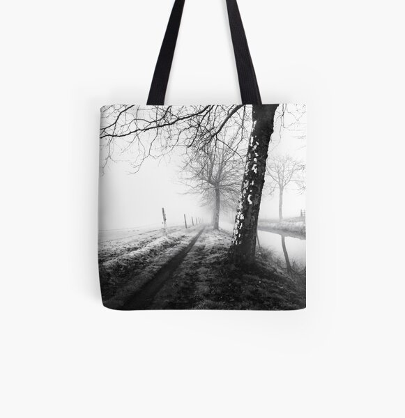 Misty trees All Over Print Tote Bag