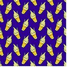 Kawaii Pineapple Whip Floats on Bold Blue by TimorousEclectc