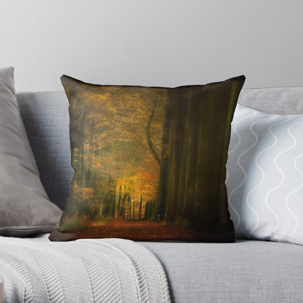 Misty light in woods  Throw Pillow