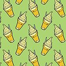 Kawaii Pineapple Whip Floats on Jungle Green by TimorousEclectc
