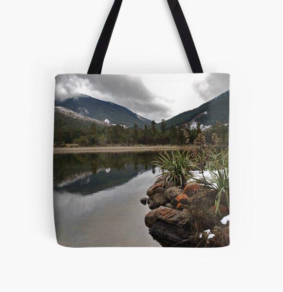 Lake Rotoroa Reflecting All Over Print Tote Bag