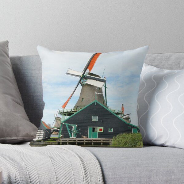 Windmill on Water Throw Pillow