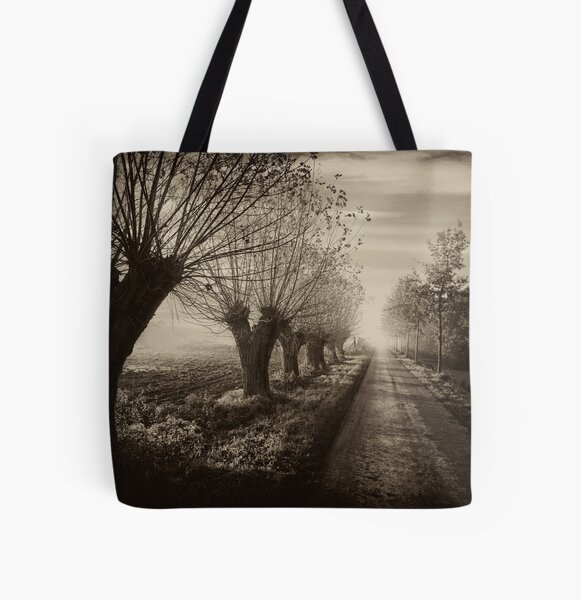 Path; willows b&w All Over Print Tote Bag