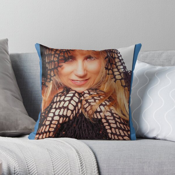 Beatuful Blond in Mesh Cape with Hood Throw Pillow