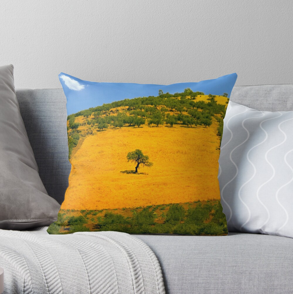 Squared tree Throw Pillow