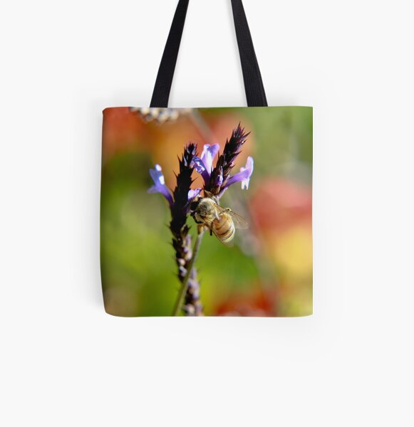 Bee on Lavender All Over Print Tote Bag