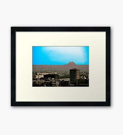 Giza Plateau from Central Cairo Framed Print