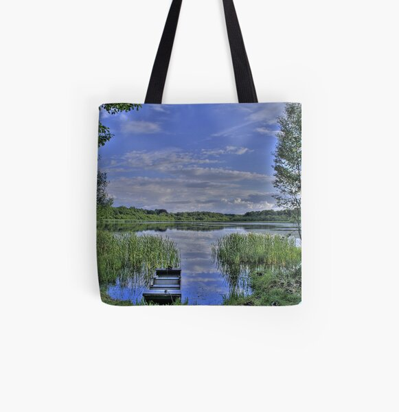 boat and lake in hdr All Over Print Tote Bag